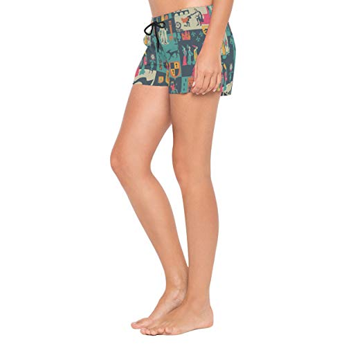 HEOEH Womens Indian Tribe Camel Element Beach Shorts Pants Ladies Boardshort Swimming Trunks