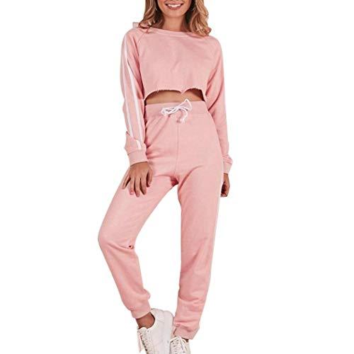 Energie Denim Pants (Sumen Women 2 Piece Sport Tracksuit Outfits Set Crop Top Pullover High Waist Sweatpants S~3XL (XXXL, Pink))