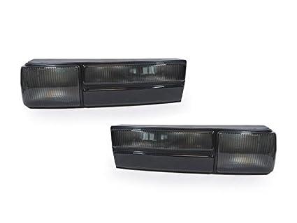 1987-1993 Mustang Black Smoke Headlights Signal Corner w// 6-LED Fog Bumper Lamps