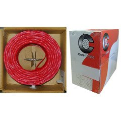 Fire Alarm / Security Cable, Red, 14/2 (14 AWG 2 Conductor), Solid, FPLR, Pullbox, 1000 foot by CableWholesale