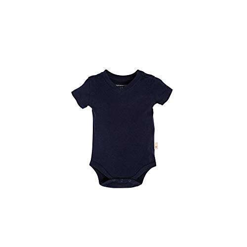 Burt's Bees Baby Boys Short Sleeve Reverse Seam V Neck Bodysuit, Midnight, 3-6 Months