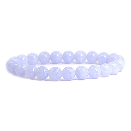 Natural Blue Lace Agate Gemstone 8mm Round Beads Stretch Bracelet