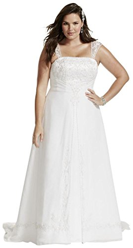 Chiffon A-Line Plus Size Wedding Dress with Cap Sleeves Style 9V9010, Ivory, 30W
