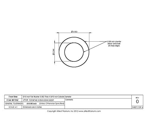 608959001 Grade 5 Inc 5//16 Inch Flat Washer 0.063 Thick X 9//16 Inch Outside Diameter Pack of 12 Ti-6Al-4V Allied Titanium 0011932,