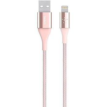 Belkin MIXIT Duratek Kevlar Lightning to USB Cable, Apple Certified, 4 Feet (Rose Gold)