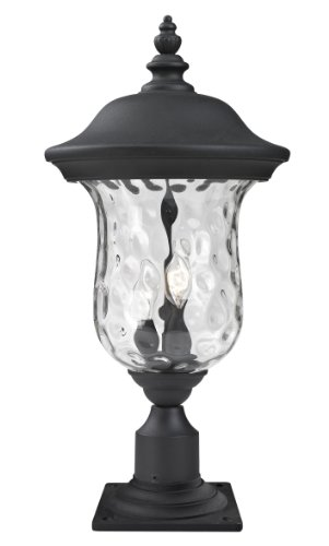 Z-Lite 533PHM-533PM-BK Armstrong Outdoor Post Mount Light, Aluminum Frame, Black Finish and Clear Water Glass Shade of Glass - Post Mount Aluminum