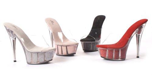 Damessandalen 6 Inch Spitse Sandaal Met Glitter In Platform (roze; 6)