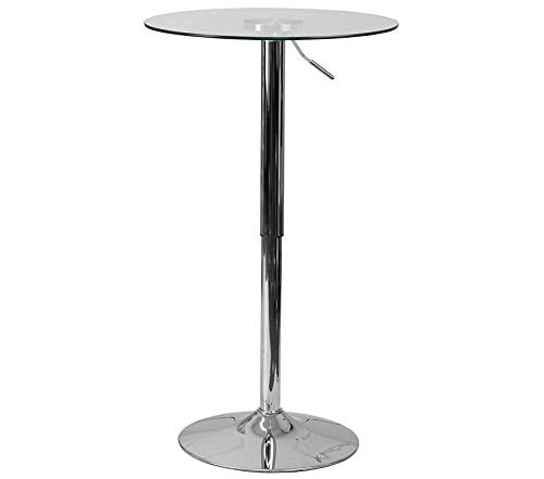 Wood & Style Office Home Furniture Premium 23.5'' Round Adjustable Height Glass Table (Adjustable Range 33.5'' - 41'')