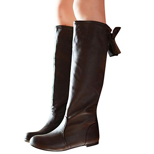Vintage Luckygirls Muslo Bowknot Botas Caña Calzado Plano Zapatillas Marrón Mujer De Zapatos Alta YpfawYq