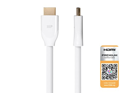 Monoprice Certified Premium High Speed HDMI Cable, 4K @ 60Hz, HDR, 18Gbps, 28AWG, YUV 4:4:4, 6ft, White