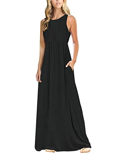 - MEROKEETY Women's Summer Sleeveless Crew Neck Solid Color Long Maxi Dress Dress with Pockets