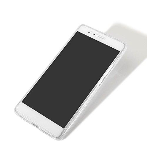 Funda Doble para Huawei P10 Plus, Vandot Bling Brillo Carcasa Protectora 360 Grados Full Body | TPU en Transparente Ultra Slim Case Cover | Protección Completa Delantera y Trasera Cocha Smartphone Móv Bling Clear