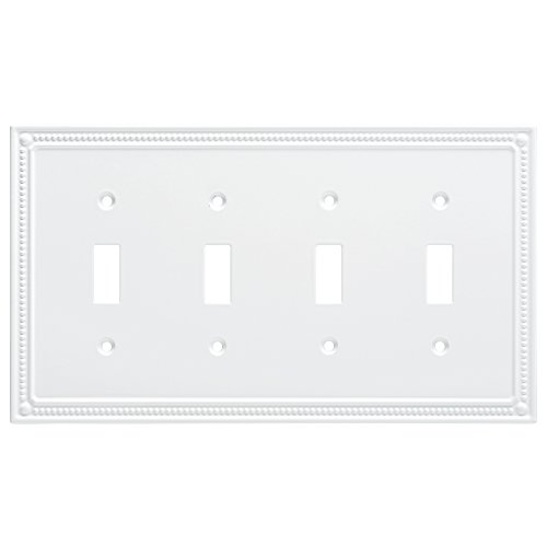 Franklin Brass W35068-PW-C Classic Beaded Quad Switch Wall Plate/Switch Plate/Cover, White - Collection Quad Outlet Plate