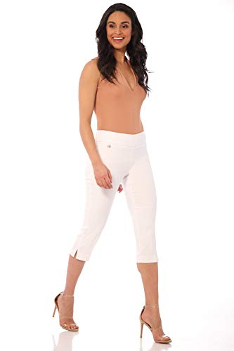 Rekucci Women's Straight Leg Comfort Capri w/Tummy Control and Secret Pocket (16,White)