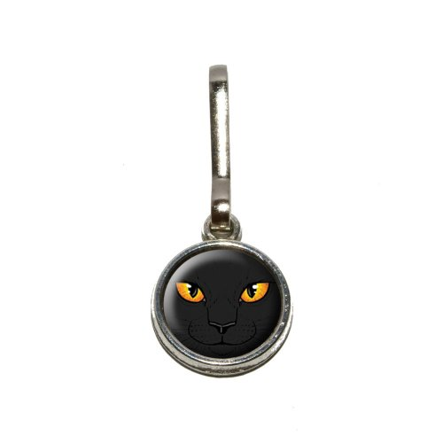 Graphics and More Black Cat Face - Pet Kitty Halloween Antiqued Charm Clothes Purse Luggage Backpack Zipper Pull -