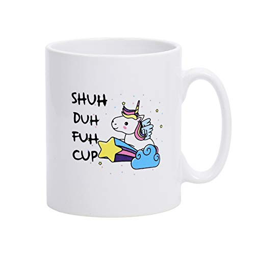 (Homlouue White Mugs with Printing Words SHUH DUH FUH CUP Coffee Mugs for  Festival Brithday Present or Daily Use)
