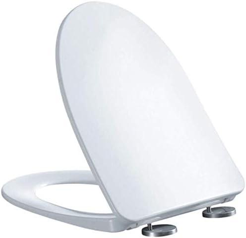 S-優雅な便座U形トイレふたバッファパッド付き抗菌ゆっくり閉じる超耐性トップマウント便座カバー浴室用、白-46.5 * 36.5 * 6.3cm