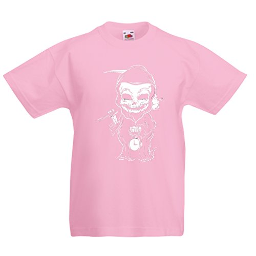 lepni.me T Shirts for Kids The Grim Reaper, Death with Sickle Skeleton - Scarry Horror Design (7-8 Years Pink Multi Color) -