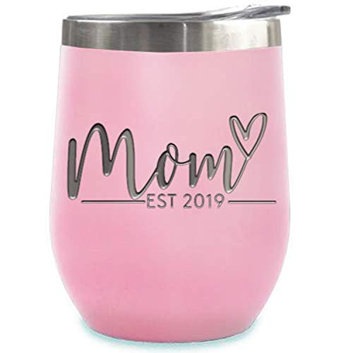 New Mom Gifts Ideas   First Time Mom Est. 2019   Mom to be 12 oz Pink Stainless Steel Tumbler w/Lid   Mommy w/New Baby Gift   Cute Expecting Mother to be Baby Shower Presents for Her Pregnancy Moms