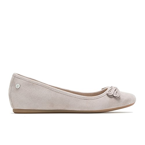 (Hush Puppies Heather Bow Ballet Women 8.5 Ice Grey Suede)