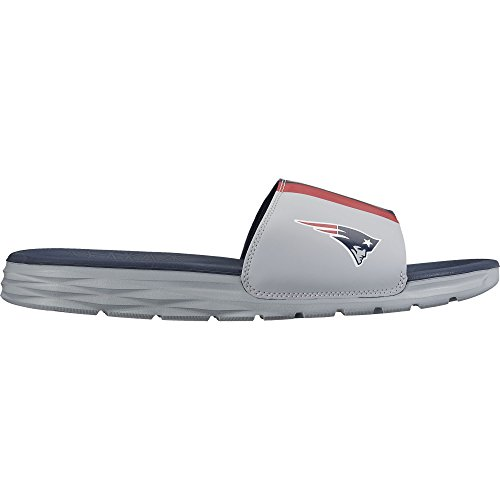 Men s Nike Benassi Solarsoft New England Patriots NFL Sandal Wolf  Grey College Navy University Red Size 10 M US c0fe072d9