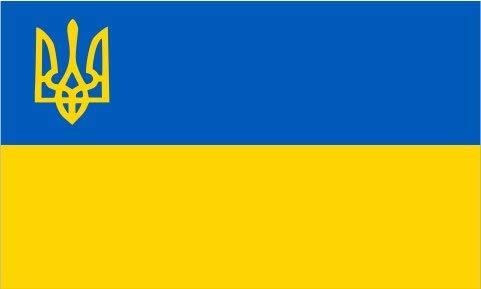 UKRAINE TRIDENT FLAG, 3'X5' УКРАЇНА ПРАПОР Ukrainian banner