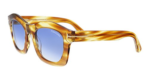 Tom Ford - GRETA FT 0431, Geometric, acetate, women, LIGHT BROWN STRIPED YELLOW/BLUE SHADED(41W), - Women Ford Tom Eyewear