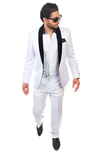 Slim Fit Men 1 Button Shawl Velvet Lapel White Tuxedo / Fashion Suit By Azar Man (40 Short 34 - Button Shawl 1