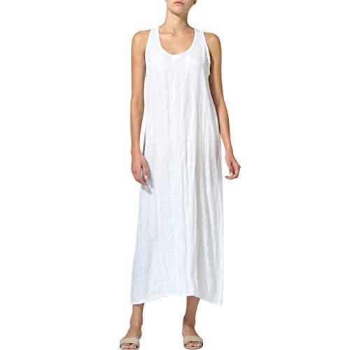 Yucode Women Cotton Linen Solid O-Neck Sleeveless Long Cami Maxi Dresses Casual Summer Dresses White