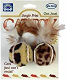 Vo-Toys Jungle Print Bouncing Plush Cat Balls with Feather 2 pack, My Pet Supplies