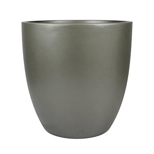 Santiago Round Cylinder Fiberglass Planter (D:22'' x H:21.5'', Metallic Grey) by The Fiberglass Depot