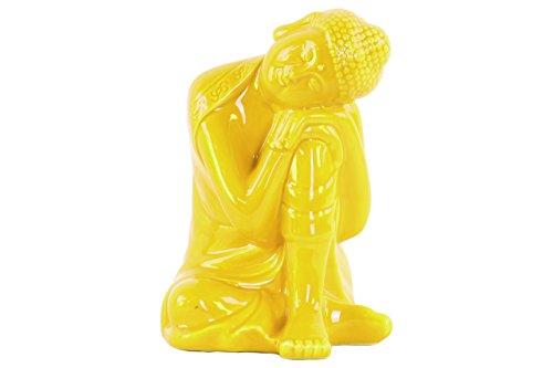 Urban Trends Ceramic Sitting Buddha Figurine with Rounded Ushnisha and Head Resting on Knee in Gloss Finish, ()