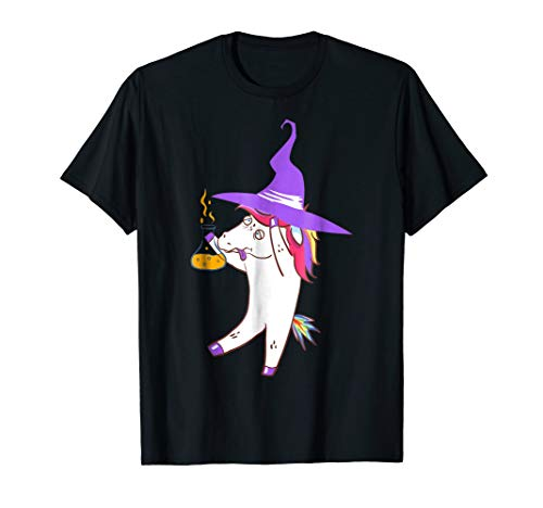 Unicorn Witch With A Purple Hat T-Shirt Spooky