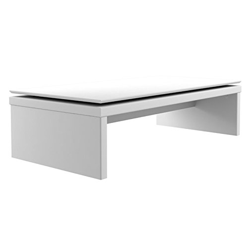 Manhattan Comfort 89652 Lincoln Rectangle Coffee Table, White Gloss (High Gloss Modern)