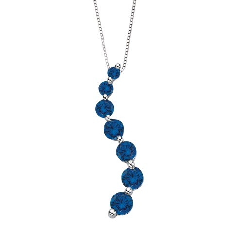 """14K White Gold 1 ct. Blue Diamond """"Journey of Love"""" Curve Pendant with Chain"""