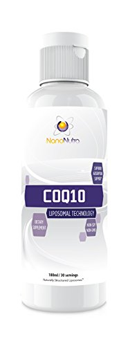 Liposomal Liquid CoQ10 Supplement (100mg Ubiquinone) by NanoNutra | Extra-Fast Absorbing Liposome Ubiquinol | Non-GMO & Non-Soy | For Heart Health, Energy Production, Anti Aging 180ml/ 30 Servings