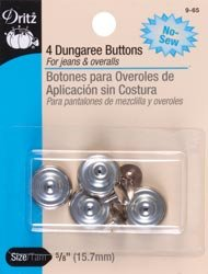 "PRYM-DRITZ CORP No-Sew Dungaree Buttons 5/8"" 4/Pkg-Nickel"