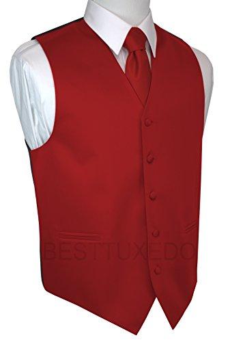 Brand Q Men's Tuxedo Vest, Tie & Pocket Square Set-Scarlet-XL
