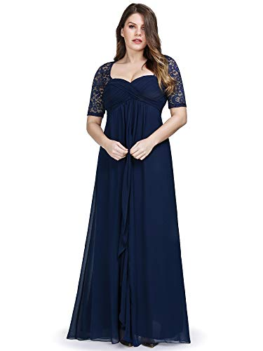 Ever-Pretty Womens Plus Size Lace Mother of The Bride Wedding Party Dresses Navy Blue US 22