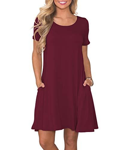 KORSIS Women's Summer Casual T Shirt Dresses Short Sleeve Swing Dress with Pockets WineRed XXL