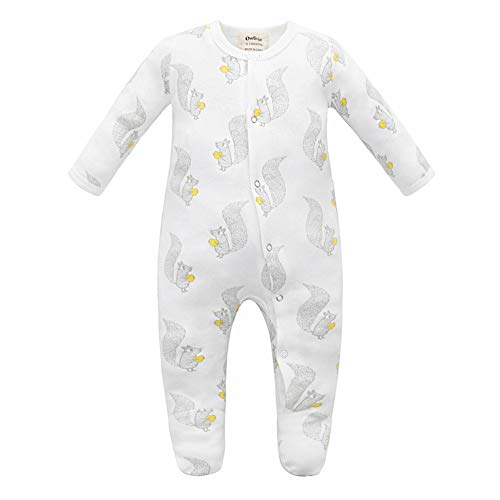 Owlivia Unisex-Baby Organic Button Cotton Sleep N Play Pajamas, Long Sleeve Footed Overall, Boys Girls' Sleeper (Newborn, Squirrel)