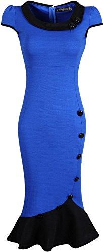 Jeansian Mujer Vestido De Las Tendencia Temperamento Dobladillo Espina De Pescado Women Trend Temperament Fishtail Hem Dress WKD183 Blue