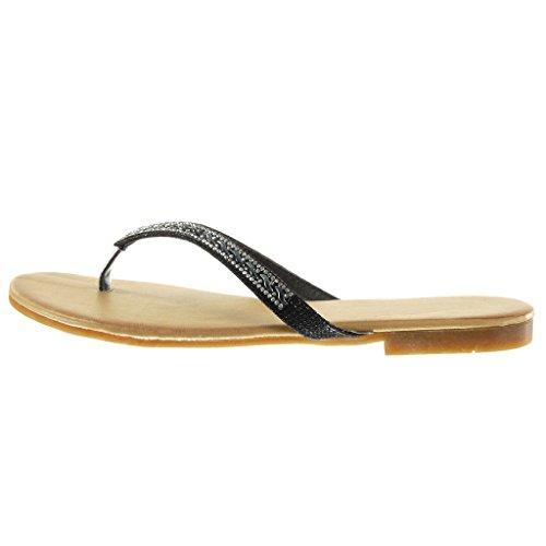Angkorly - damen Schuhe Sandalen Flip-Flops - Strass - glitzer Blockabsatz 1.5 CM - Schwarz