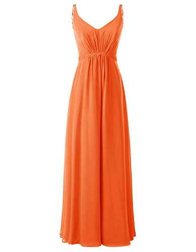 Wedding Chiffon Prom Dresses Orange ALAGIRLS with Party Applique Long Gowns Women's POwqEx1nX