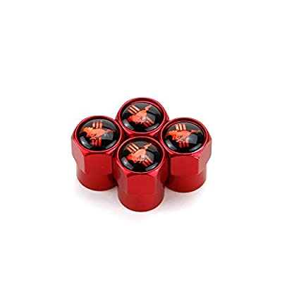 JDclubs 4pcs Universal Metal Valve Caps Stem Cover Accessories with Logo Emblem Waterproof Dust-Proof Universal fit for Cars, SUV, Truck, Motorcycles (fit Mustang): Automotive