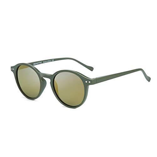 ZENOTTIC Round Sunglasses Polarized Vintage Classic Retro Sunglasses UV400 For Men and Women, Matte Green / ()