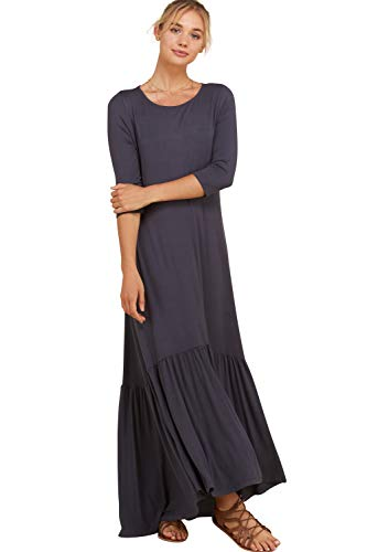 Ruffle Knit Dress (Annabelle Women's Modern Knit Solid Maxi Dresses with Ruffle Detail at Hem Slate Large D5293K)