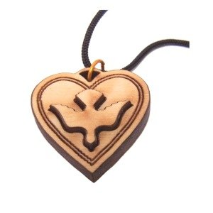 Heart shaped Dove 2-Layers Olive wood Laser Necklace (Pendant is : 3 cm or 1.... -