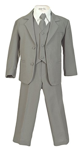 - Avery Hill Boys Formal 5 Piece Suit with Shirt and Vest SilverWhite 2T