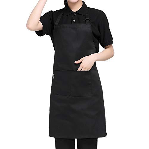 Adjustable Bib Chief Apron With 2 Pockets - Waitresses apron, Heavy duty kitchen apron, Money apron - Cooking Kitchen Aprons for Women Men - Black